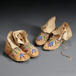 Two Pairs of Santee Sioux Beaded Hide Child's Moccasins