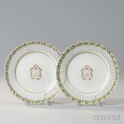 Pair of Export Porcelain Reticulated Armorial Plates