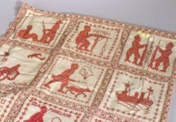 French Turkey Red Military Themed Cross-stitch Textile