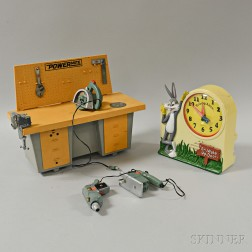 Ideal Toys Powermite Workshop and a Janex Bugs Bunny Talking Alarm Clock
