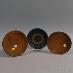 Three Small Turned Treen Plates