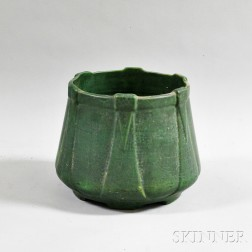 Large Art Pottery Green Crackle-glazed Jardiniere
