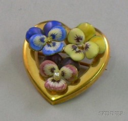 14kt Gold Enamel Decorated Heart-shaped Pansy Pin