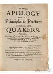 Whitehead, George (1636?-1723) and William Penn (1644-1718) A Serious Apology for the Practices of the People   call'd Quakers