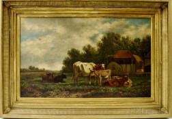 Attributed to Sara North (American, 19th Century)      Landscape with Cattle by a Farm