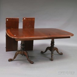 Chippendale-style Carved and Inlaid Mahogany Veneer Double-pedestal Dining Table