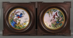 Pair of Framed Aesthetic Movement Enamel-on-copper Plaques