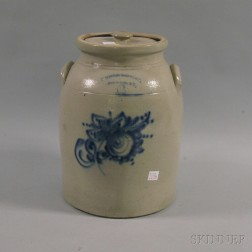 Cobalt Floral-decorated Fort Edwards Stone Ware Co. Six-gallon Churn and Lid