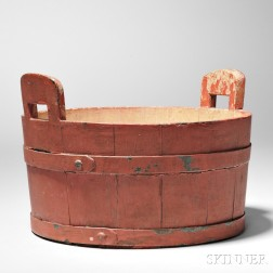 Shaker Red-painted Eared Tub