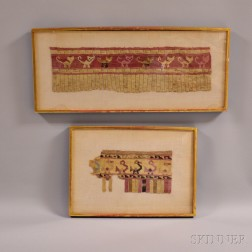 Two Framed Pre-Columbian Textile Fragments