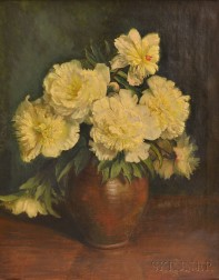 Continental School, 20th Century      Still Life with White Peonies