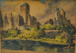 Nat Lowell (American, 1880-1956)      Central Park South, NYC