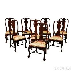 Set of Eight Queen Anne-style Carved Mahogany Chairs