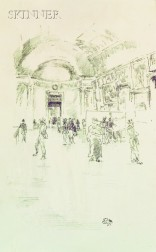 James Abbott McNeill Whistler (American, 1834-1903)      The Long Gallery, Louvre