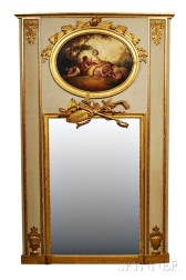 French Carved and Painted Trumeau Mirror