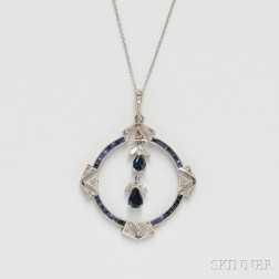 Art Deco-style 14kt White Gold, Diamond, and Sapphire Pendant