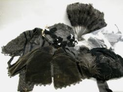 Two Victorian Ladys Hats, a Black Feather Fan, Two Jet Beaded Shoulder Collars and Pieces of Lace, Trim and Beading.
