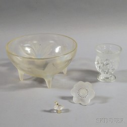 Four Pieces of Mostly Lalique Colorless Glass