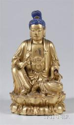 Carved and Gilded Wooden Figure of the Goddess of Mercy