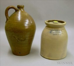 """Stoneware """"CHARLESTOWN"""" Stamped Jug and a Covered Jar"""