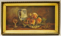 American School, 20th Century       Still Life with Fruit and Pitcher.