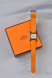 """Stainless Steel """"H-our"""" Wristwatch, Hermes"""
