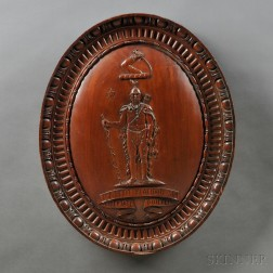 Carved Mahogany Architectural Element Depicting the Massachusetts State Seal