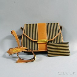 Fendi Striped Coated Canvas and Leather Purse and Matching Wallet