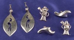 Three Pairs of Mexican Silver Earpendants