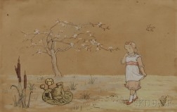 Attributed to Kate Greenaway (British, 1846-1901)      Girl at the Edge of a Frog Pond