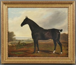 School of William Shaw (British, 18th Century)      Standing Racehorse in a Landscape