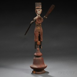 Painted Carved Wood and Tin Figural Whirligig