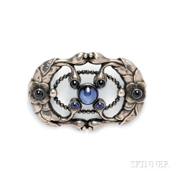 Sterling Silver and Synthetic Sapphire Brooch, Georg Jensen