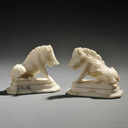 Pair of Alabaster Figures of Il Porcellino or the Wild Boar of Florence