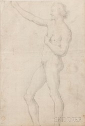 Italian School, Late 16th Century      Two Drawings: A Double-sided Drawing with a Standing Male Nude on the Recto