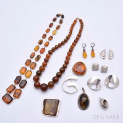 Group of Amber and Sterling Silver Jewelry