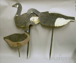 Three Painted Cut Sheet Metal Canada Goose Decoys.