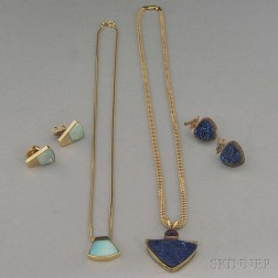 Small Group of Gold, Opal, and Blue Drusy Jewelry