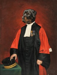 Thierry Poncelet (Belgian, b. 1946)      The Honorable Rottweiler, Magistrate