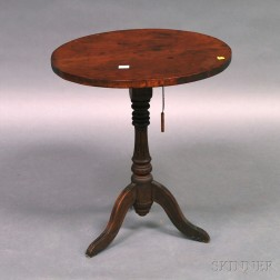 Country Carved Pine and Maple Tilt-top Candlestand