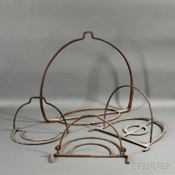 Four Wrought Iron Hanging Pot Holders