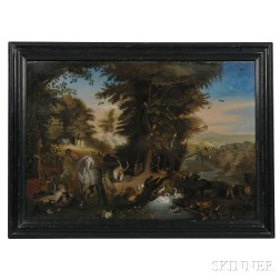 American School, Possibly Western Massachusetts, Early 19th Century      Adam and Eve in the Garden of Eden, an Overmantel Panel