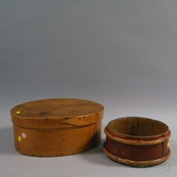 Lapped-seam Covered Box and Red-painted Pine Stave Tub
