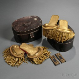 Two Pairs of Civil War Officer's Epaulettes and a Pair of Shoulder Straps