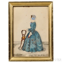 Attributed to J. Evans (New England, 19th Century)      Full-length Portrait of a Woman in a Blue Gown