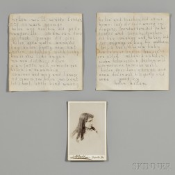 Keller, Helen (1880-1968) Autograph Letter Signed and Cabinet Card.