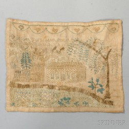 Small Silk Needlework Picture of a House