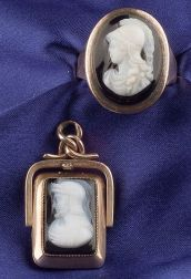 14kt Gold and Hardstone Cameo Ring and Reversible Pendant/Locket
