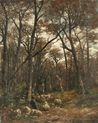 Charles Émile Jacque (French, 1813-1894)      Shepherd and Flock in a Forest Glade