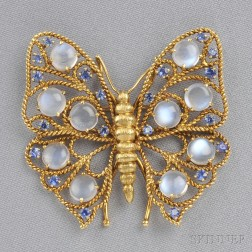 18kt Gold, Moonstone, and Sapphire Butterfly Brooch
